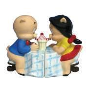 Looney Tune Porky and Petunia Pig Drinking Shake at Dining Table Salt and Pepper