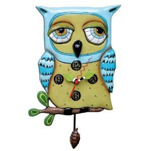 MICHELLE ALLEN Old Blue Owl with Acorn Pendulum Clock