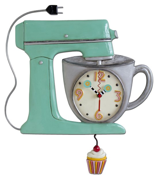 MICHELLE ALLEN Blue Mix It Up Mixer With Cupcake Pendulum Clock
