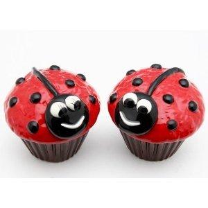 Red & Black Ladybug Cupcake Salt and Pepper Shaker Set