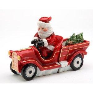 Christmas - Santa Driving A Pick Up Truck Salt & Pepper