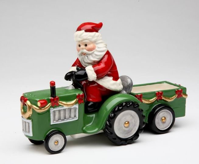 Christmas - Santa Driving A Tracktor Salt & Pepper