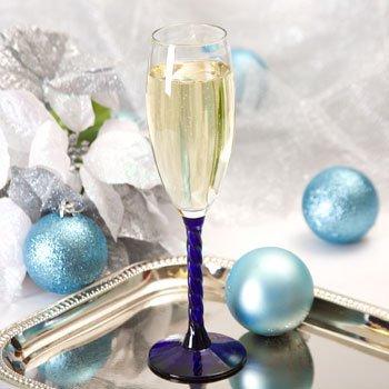 6oz Glass Champagne Flute Twisted Cobalt Blue Stem 4pcs