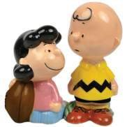Peanut Lucy and Charlie Brown Football Salt Pepper