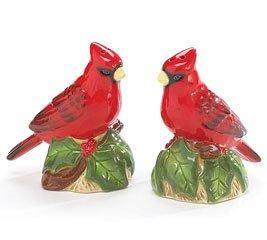 Evergreen Holiday Cardinal Bird Salt and Pepper