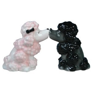 Mwah Magnetic Pink and Black Poodles Couple Kissing Salt and Pepper Shaker