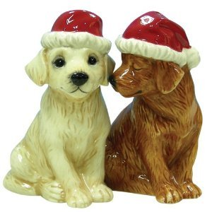 MWAH Holiday Labrador wearing Christmas Hat Salt and Pepper Shakers
