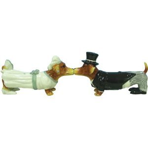 Hot Diggity Magnetic Dachsund Dog Bride and Groom Salt and Pepper Shaker