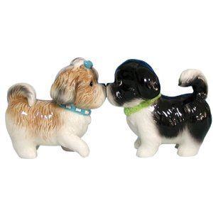 MWAH Magnetic Shih Tzu Couple Dog Salt and Pepper Shaker