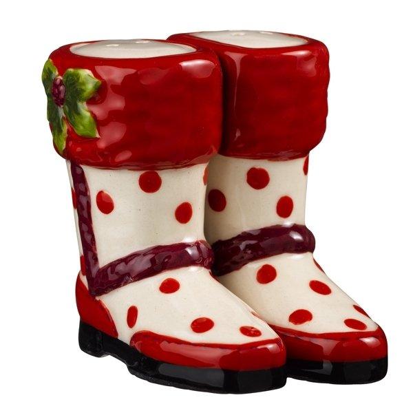 Magnetic Red Polka Dot Boot Shoe Salt and Pepper