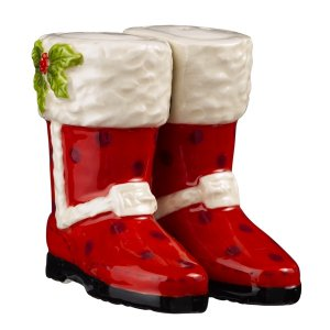Magnetic Red Christmas Boot Shoe With Black Polka Dot Salt and Pepper