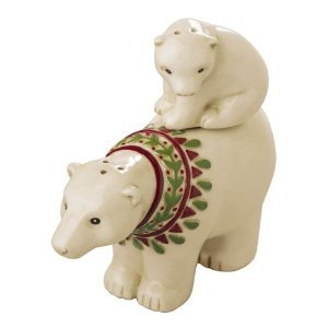 Magnetic Polar Bear Mom Wearing Scarf and Baby Salt & Pepper Shaker