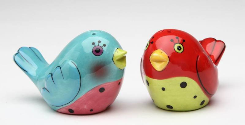 Red and Blue Love Bird Couple Salt and Pepper