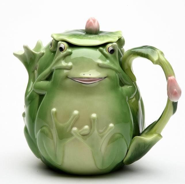See, Hear, Say No Evil! Fairy Frog Porcelain Teapot