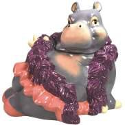 Glamorous Hippo Wearing Purple Scarf and Pink Skirt Cookie Jar