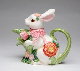 Porcelain Blossom Bunny Rabbit Teapot