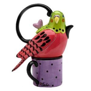Whimsical Pink Parakeet Bird Tea For One