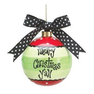 """Merry Christmas Y'All"" Ball Shaped Christmas Ornament With Polka Dot Ribbon"