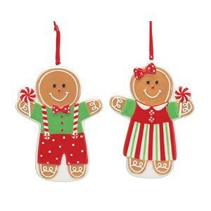 Mr & Mrs Gingerbread Man Christmas Tree Ornaments Adorable Holiday Decor (2 pcs)