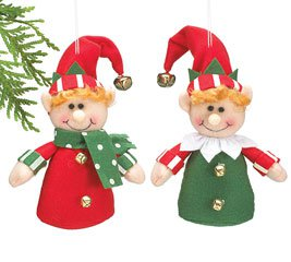 Mr & Mrs Elf shaped Elves Christmas Tree Plush Ornaments (2 pcs)