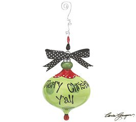 Merry Christmas Y'all Ornament with wire beaded hanger & Polka Dot Ribbon