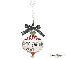 Happy Birthday Jesus Ornament with wire beaded hanger & Polka Dot Ribbon