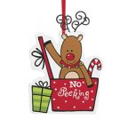 No Peeking Reindeer hand painted wooden ornament with wire antlers