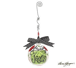 Jesus ball shaped Ornament hanging from silver beaded wire with Polka Dot Bow.