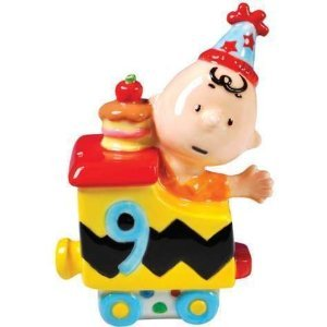 PEANUTS CHARLIE BROWN HAPPY BIRTHDAY TRAIN NO.9 FIGURINE OR CAKE TOPPER
