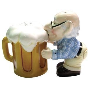 Coots Magnetic Coot Old Man Drinking Beer Salt and Pepper Shaker
