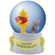 Disney Happy Birthday Wiinie The Pooh & Piglet 85MM Musical Water Globe Figurine