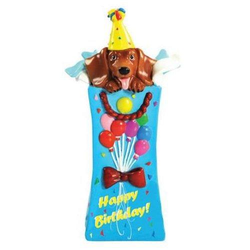 Hot Diggity Dachsund Dog Happy Birthday Surprise Mini Figurine or Cake Topper