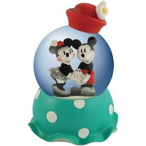 Vintage Disney Mickey And Minnie Mouse Holding Hand 65MM Water Globe Figurine
