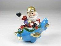 Christmas ~ Santa in Blue Plane Salt and Pepper