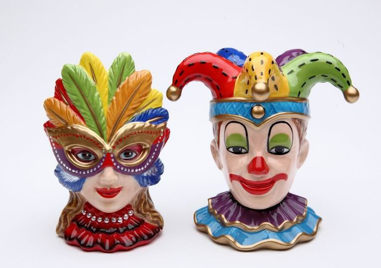 MARDI GRASS PARTY MASK CLOWN BOY AND GIRL SALT AND PEPPER
