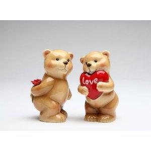 Lover Bear Couple Holding Flower and Heart Shape Plush Salt and Pepper
