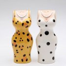 Yellow Leopard Party Dress and White Polka Dot Party Dress Salt and Pepper
