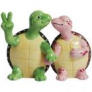 Peace Turtle - Green and Pink Turtle Couple Holding Hand Salt and Pepper