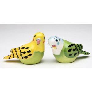 Yellow and Green Parakeet Bird Salt and Pepper