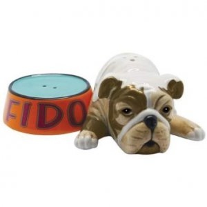 Fido Bulldog Laying Next To His Pet Bowl Salt and Pepper