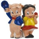 Looney Tune Porky Pig and Petunia Back to Back Salt and Pepper