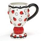 Lovely 8oz Ladybug Swirls hand painted raised Ceramic Mug
