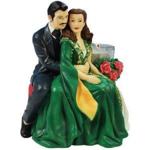 Gone With The Wind Tealight Candle Holder Tuxedo Rhett & Green Dress Scarlett Figurine Home Decor