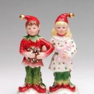 Festive Multi Colored Sugar Plum Elves Salt and Pepper