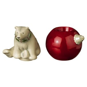 Winter Wilderness Stackable White Polar Bear and Red Ornament Salt and Pepper