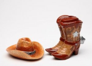Wild Wild West Cowboy Boots with matching hat Salt and Pepper