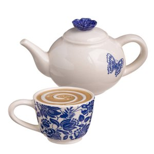 Tea Time Teapot with Butterfly decor and Cup with Floral Decor Salt and Pepper