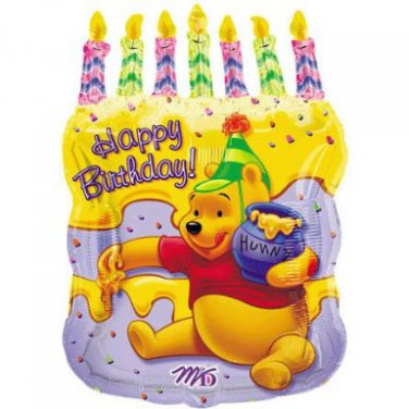 "Disney Winnie The Pooh Happy Birthday Cake Shaped 23"" Mylar Balloon Party Supply"