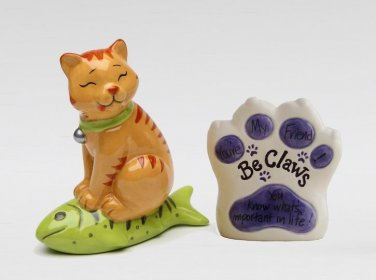 "Be Claw - Cat Sit On Fish ""You Know What's Important In Life"" Salt and Pepper"