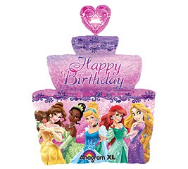 """Happy Birthday 28"""" Disney Princesses Group Cake Shaped Foil Balloon Party Supply"""